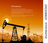 silhouette pumpjack or oil pump ... | Shutterstock .eps vector #658805365