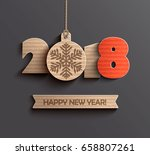 creative happy new year 2018... | Shutterstock .eps vector #658807261