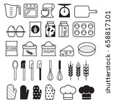 bakery tool icons set. vector... | Shutterstock .eps vector #658817101