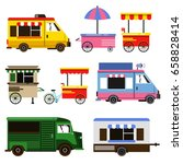set of food trucks and bicycles ... | Shutterstock .eps vector #658828414