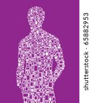 Silhouette of a man made with cellphones and Smartphones in purple and white - stock vector