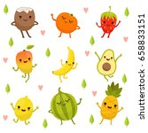 funny emotion on cartoon fruits ... | Shutterstock .eps vector #658833151