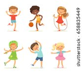 kids playing in active games.... | Shutterstock .eps vector #658835449