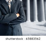 Man at courthouse - stock photo