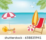 summer beach background with... | Shutterstock .eps vector #658835941