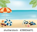 summer beach background with... | Shutterstock .eps vector #658836691