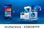 smart kitchen. the smart phone... | Shutterstock .eps vector #658838959