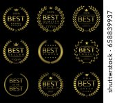 golden best labels. laurel... | Shutterstock .eps vector #658839937