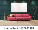 green living room interior with ... | Shutterstock . vector #658841101