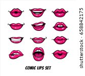 comic female lips set. mouth... | Shutterstock .eps vector #658842175
