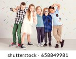 young sweet children standing... | Shutterstock . vector #658849981