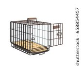 metal wire cage  crate for pet  ... | Shutterstock .eps vector #658854457
