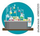 laboratory conceptual. vector... | Shutterstock .eps vector #658855255