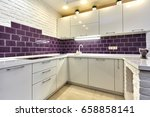 kitchen with appliances and a... | Shutterstock . vector #658858141