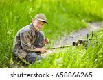 a boy traveler with a backpack... | Shutterstock . vector #658866265