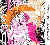 seamless tropical pattern.... | Shutterstock .eps vector #658873639