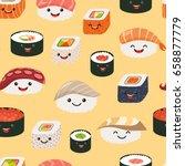 sushi emoji seamless pattern ... | Shutterstock .eps vector #658877779