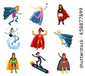 female superheroes in different ... | Shutterstock .eps vector #658877899