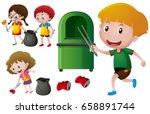 children picking up aluminum... | Shutterstock .eps vector #658891744
