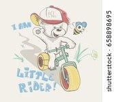 cool little bear in cap on... | Shutterstock .eps vector #658898695