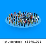 big people crowd in circle.... | Shutterstock .eps vector #658901011