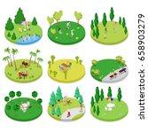 isometric outdoor park... | Shutterstock .eps vector #658903279