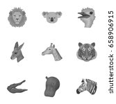 A Set Of Icons Of Wild Animals...