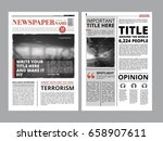 newspaper front page with... | Shutterstock .eps vector #658907611