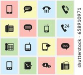 set of 16 editable phone icons. ... | Shutterstock .eps vector #658910971