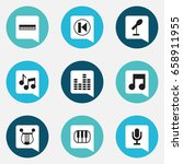 set of 9 editable music icons....
