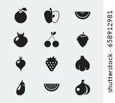 set of 12 editable dessert... | Shutterstock .eps vector #658912981