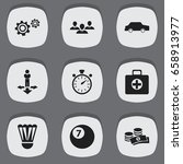 set of 9 editable complex icons....