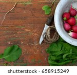 red radish with green leaves in ... | Shutterstock . vector #658915249