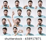 emotions faces set of young... | Shutterstock . vector #658917871