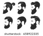 set of silhouettes of a bearded ... | Shutterstock .eps vector #658922335