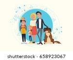 happy family characters vector. ... | Shutterstock .eps vector #658923067