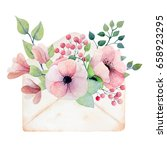 watercolor old envelope with... | Shutterstock . vector #658923295