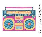 retro music gadget  in pink ... | Shutterstock .eps vector #658927825