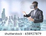 virtual tourism concept  man... | Shutterstock . vector #658927879