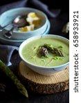 green asparagus soup | Shutterstock . vector #658933921