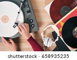 turntable vinyl record player ...   Shutterstock . vector #658935235