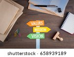 values  mission  vision concept.... | Shutterstock . vector #658939189
