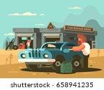 roadside repair car service   Shutterstock .eps vector #658941235