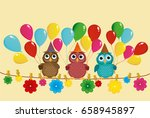 three lovely owls sit on a rope ... | Shutterstock .eps vector #658945897