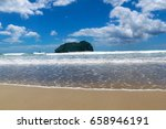 waves on pacific beach sunny... | Shutterstock . vector #658946191