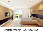 modern bedroom interior in wood ... | Shutterstock . vector #658952365