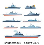 set of ships in modern flat... | Shutterstock .eps vector #658959871