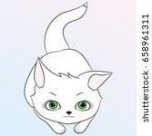 cute kitty. children's... | Shutterstock .eps vector #658961311