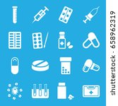 medication icons set. set of 16 ... | Shutterstock .eps vector #658962319