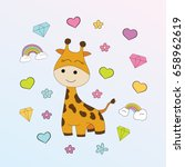 children's illustration with... | Shutterstock .eps vector #658962619